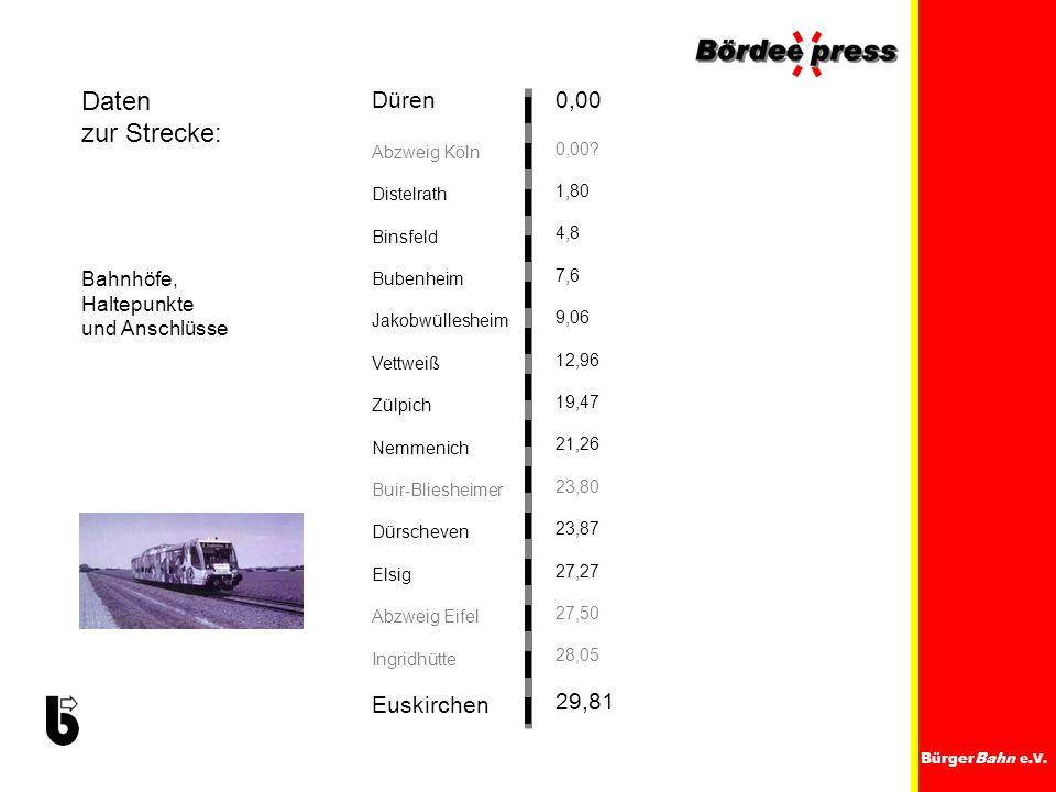 Daten zur Strecke: Düren Euskirchen 0,00 29,81 Bahnhöfe, Haltepunkte