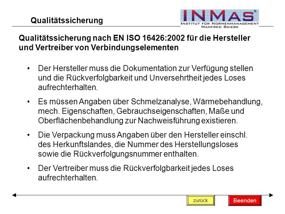 Qualitätssicherung Qualitätssicherung nach EN ISO 16426:2002 für die Hersteller und Vertreiber von Verbindungselementen.