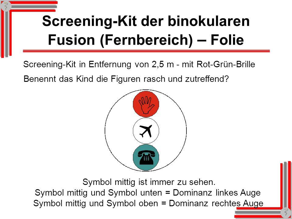 Screening-Kit der binokularen Fusion (Fernbereich) – Folie