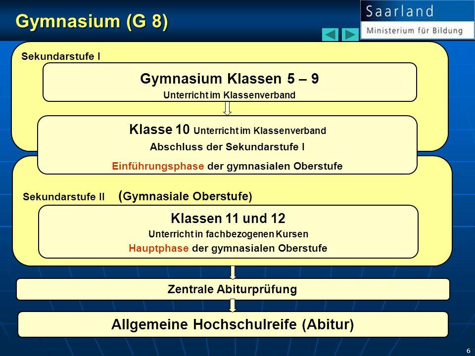 Gymnasium (G 8) Gymnasium Klassen 5 – 9