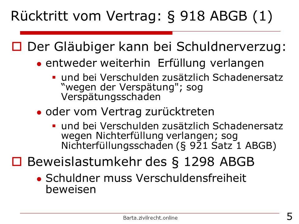 Rücktritt vom Vertrag: § 918 ABGB (1)