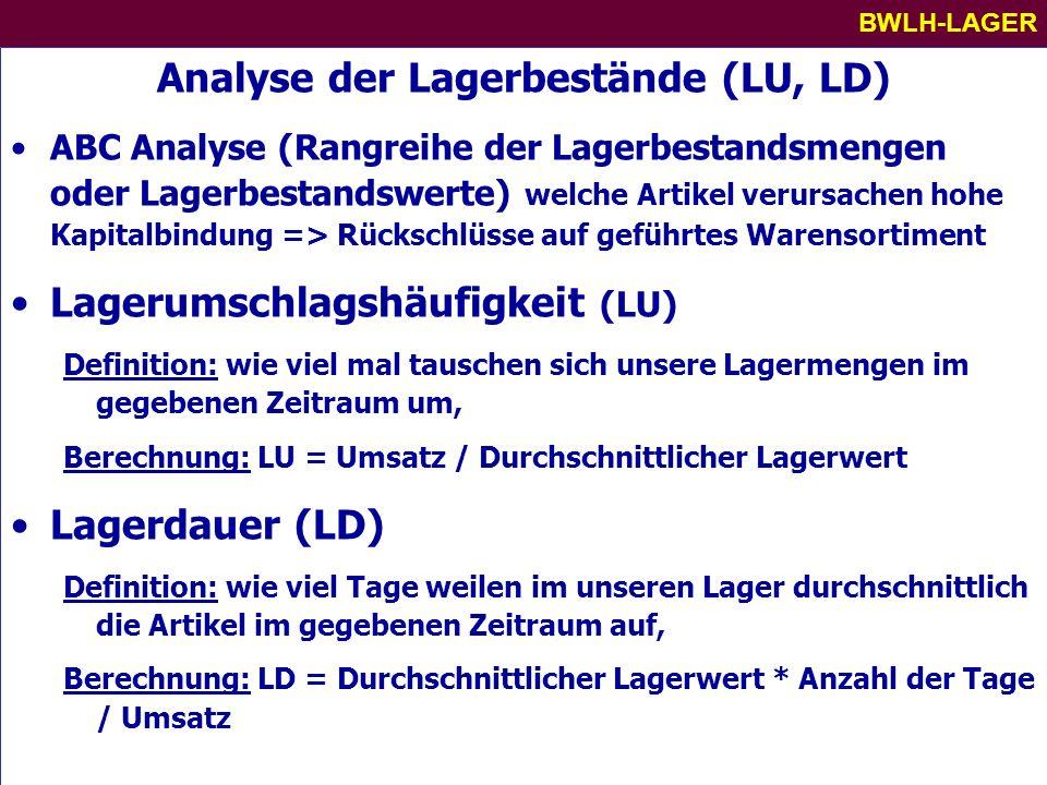 Analyse der Lagerbestände (LU, LD)