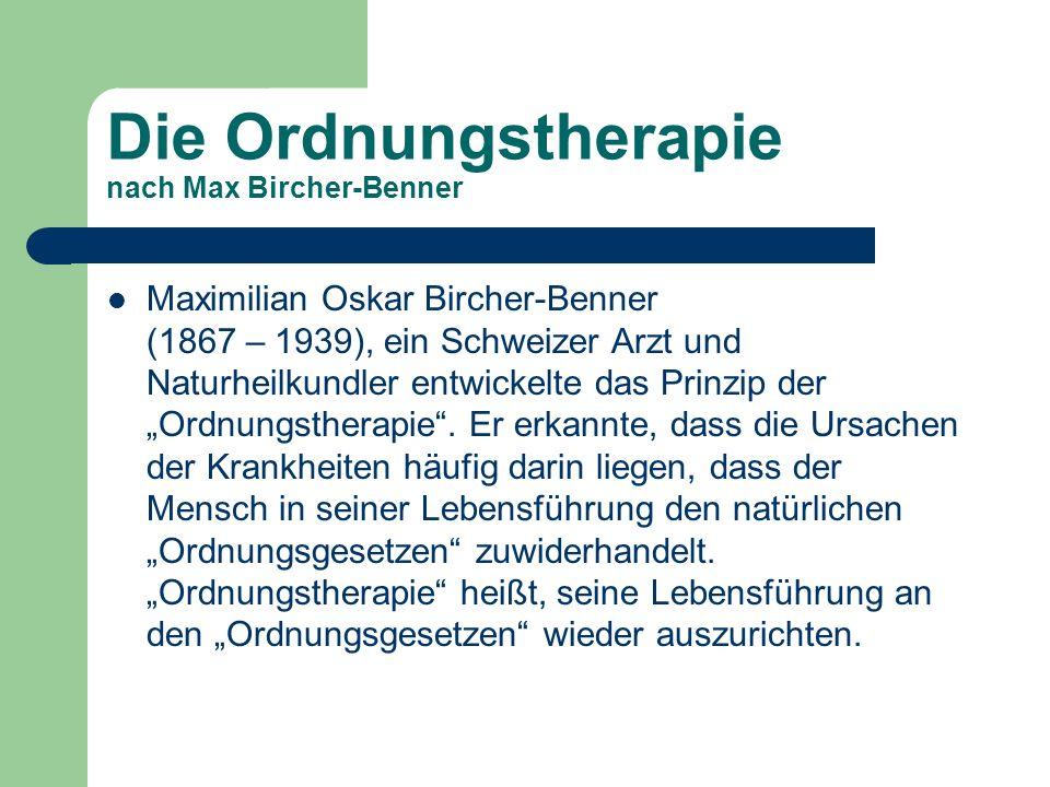 Die Ordnungstherapie nach Max Bircher-Benner