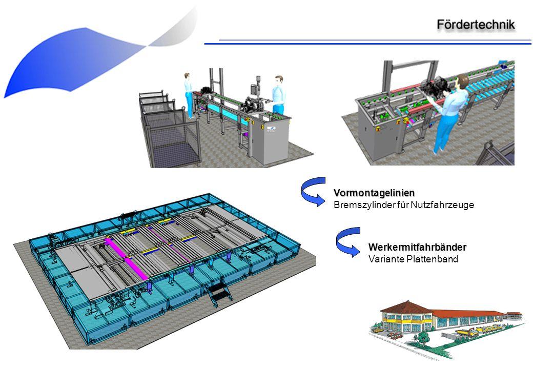 Vormontagelinien Bremszylinder für Nutzfahrzeuge Werkermitfahrbänder Variante Plattenband