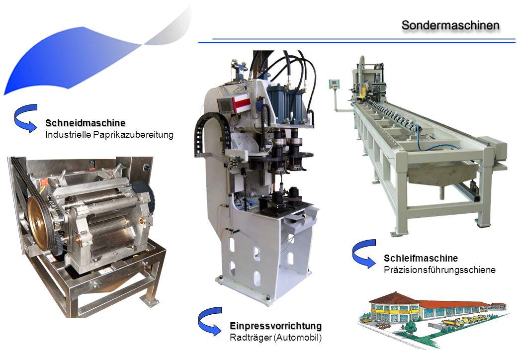 Schneidmaschine Industrielle Paprikazubereitung. Schleifmaschine. Präzisionsführungsschiene. Einpressvorrichtung.