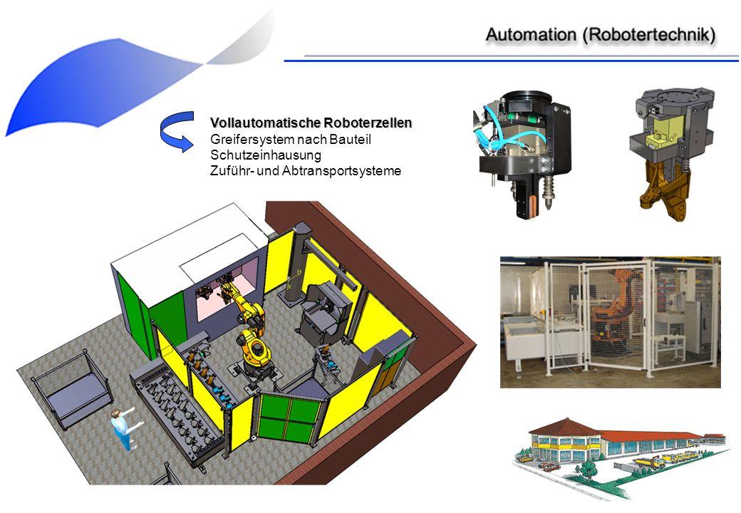 Vollautomatische Roboterzellen Greifersystem nach Bauteil Schutzeinhausung Zuführ- und Abtransportsysteme