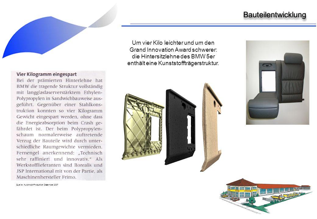 Um vier Kilo leichter und um den Grand Innovation Award schwerer: die Hintersitzlehne des BMW 5er enthält eine Kunststoffträgerstruktur.
