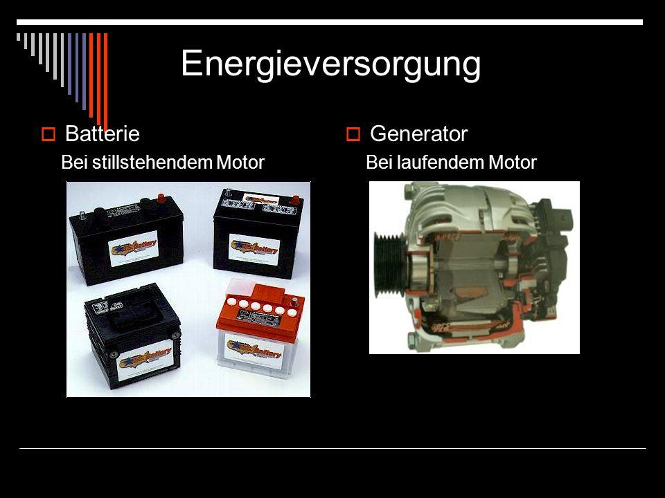 Energieversorgung Batterie Generator Bei stillstehendem Motor