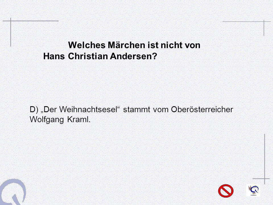 Welches Märchen ist nicht von Hans Christian Andersen