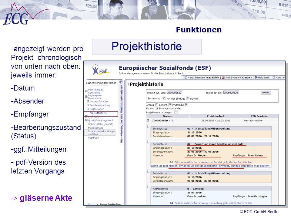 Projekthistorie Funktionen