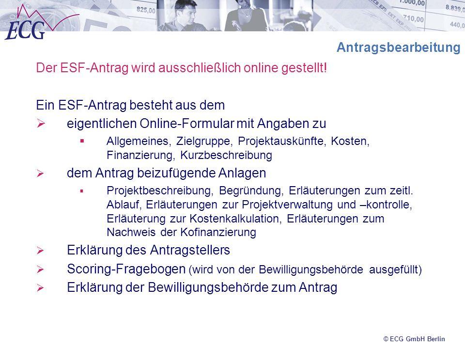 Der ESF-Antrag wird ausschließlich online gestellt!