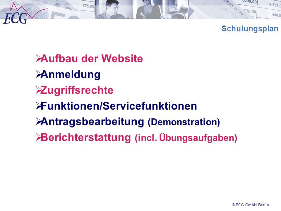 Funktionen/Servicefunktionen Antragsbearbeitung (Demonstration)