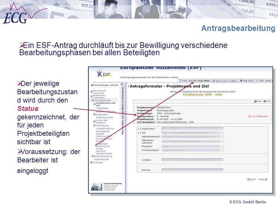 Antragsbearbeitung Ein ESF-Antrag durchläuft bis zur Bewilligung verschiedene Bearbeitungsphasen bei allen Beteiligten.