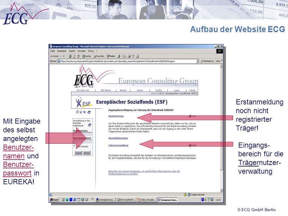 Aufbau der Website ECG Erstanmeldung noch nicht registrierter Träger!