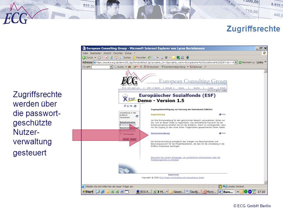 Zugriffsrechte werden über die passwort-geschützte Nutzer-verwaltung