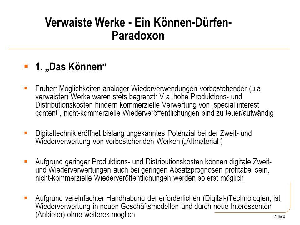 Verwaiste Werke - Ein Können-Dürfen-Paradoxon