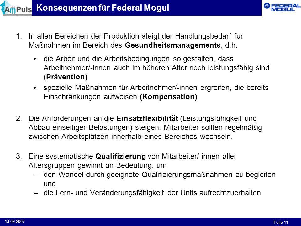 Konsequenzen für Federal Mogul