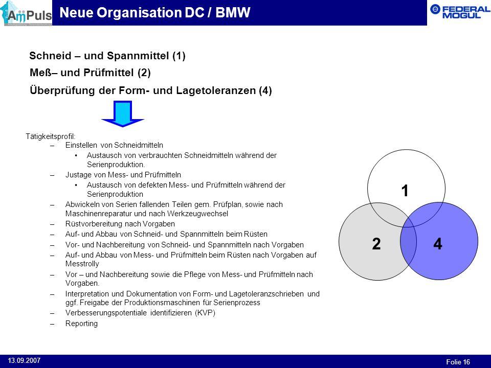 1 2 4 Neue Organisation DC / BMW Schneid – und Spannmittel (1)