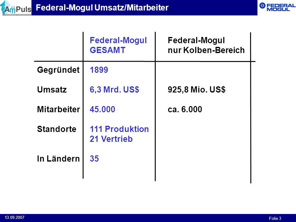 Federal-Mogul Umsatz/Mitarbeiter