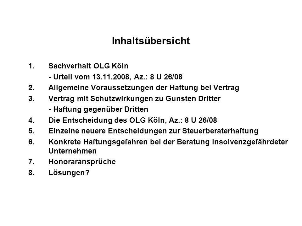 Inhaltsübersicht Sachverhalt OLG Köln