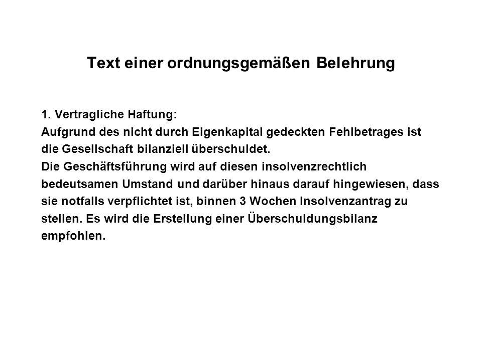 Text einer ordnungsgemäßen Belehrung