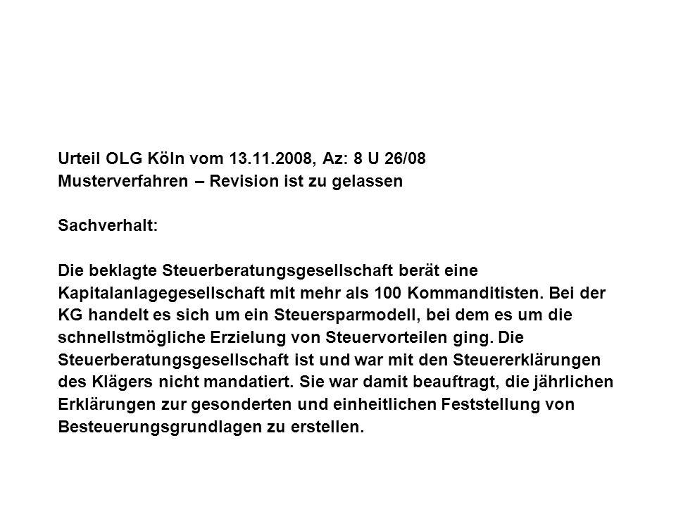 Urteil OLG Köln vom 13.11.2008, Az: 8 U 26/08