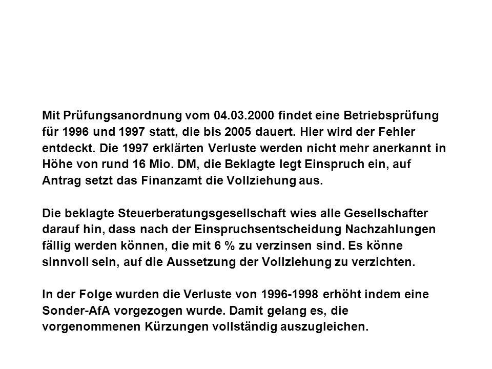 Mit Prüfungsanordnung vom 04.03.2000 findet eine Betriebsprüfung