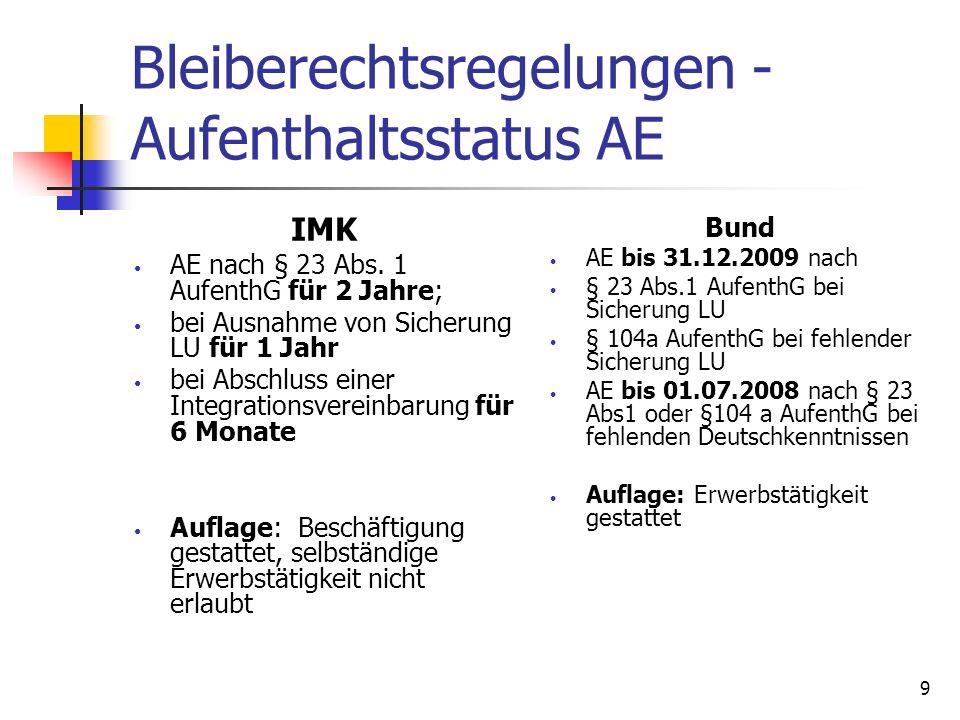 Bleiberechtsregelungen - Aufenthaltsstatus AE