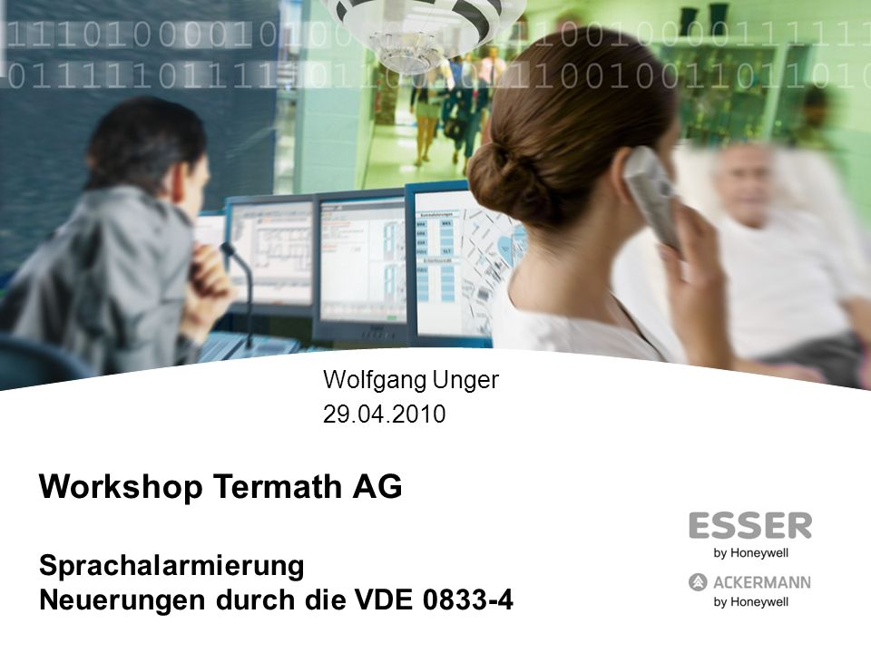 Workshop Termath AG Sprachalarmierung Neuerungen durch die VDE 0833-4