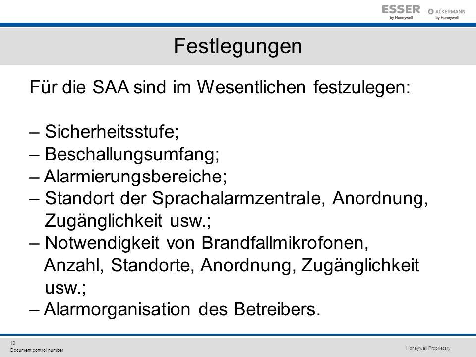 Festlegungen Für die SAA sind im Wesentlichen festzulegen: