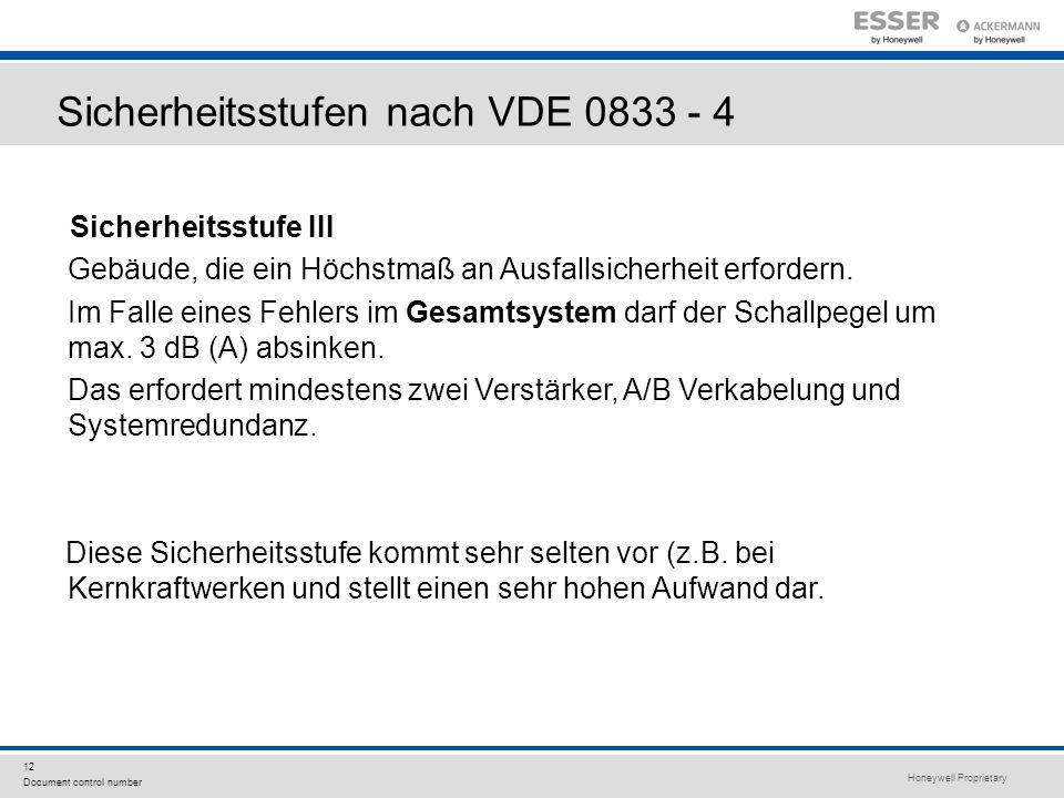Sicherheitsstufen nach VDE 0833 - 4