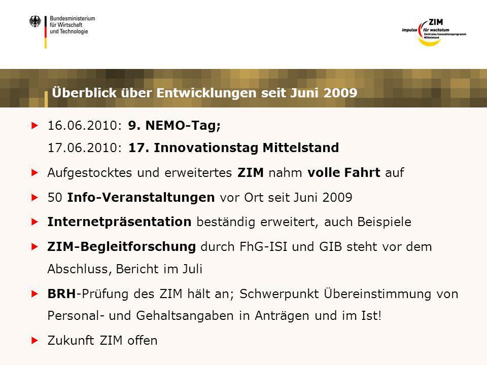 Überblick über Entwicklungen seit Juni 2009