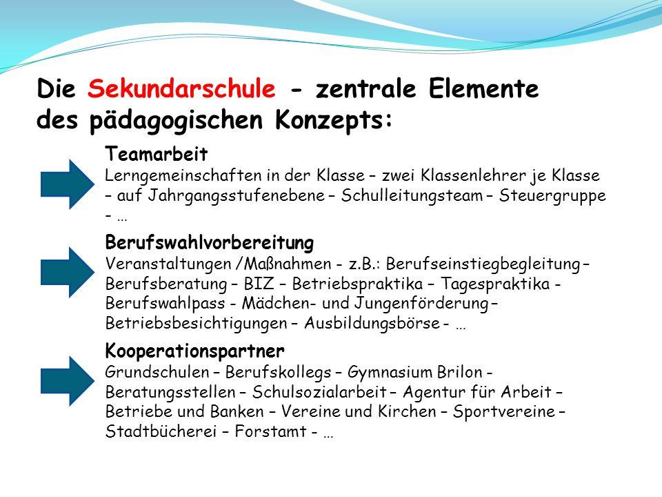 Die Sekundarschule - zentrale Elemente des pädagogischen Konzepts: