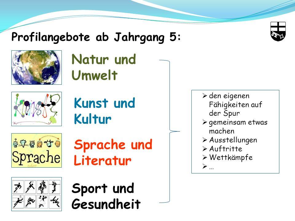 Natur und Umwelt Kunst und Kultur Sprache und Literatur Sport und