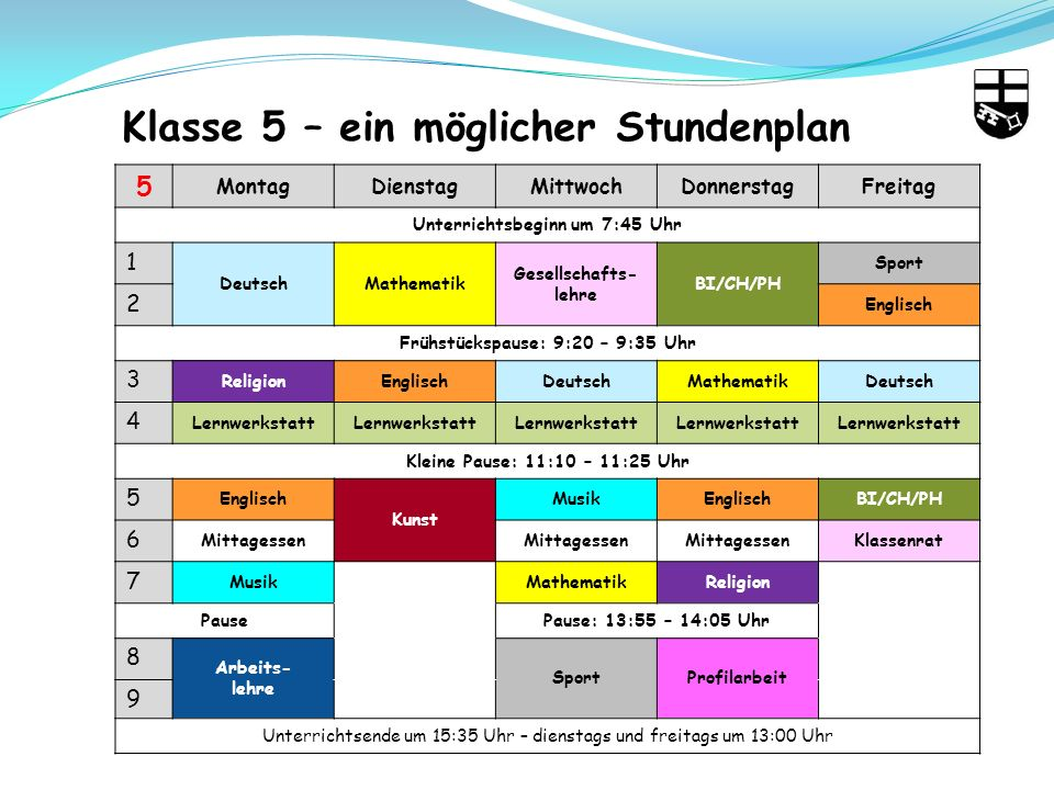 Klasse 5 – ein möglicher Stundenplan