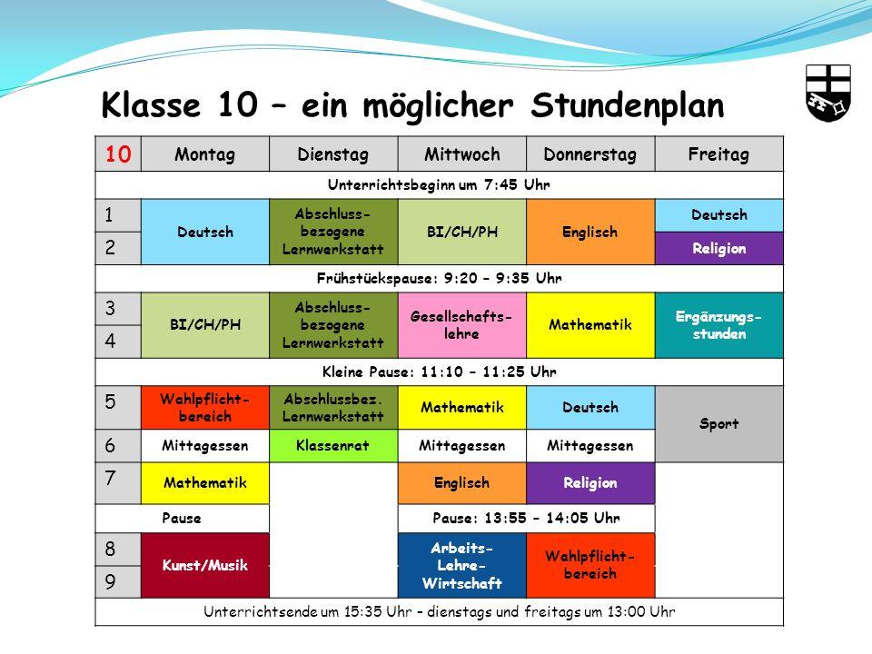 Klasse 10 – ein möglicher Stundenplan