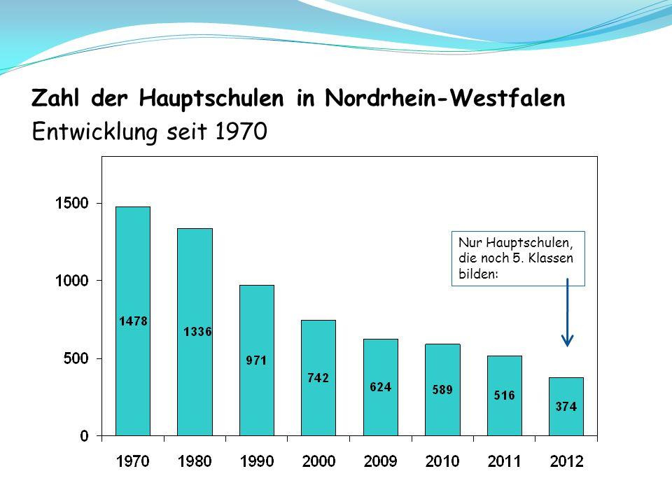 Zahl der Hauptschulen in Nordrhein-Westfalen Entwicklung seit 1970