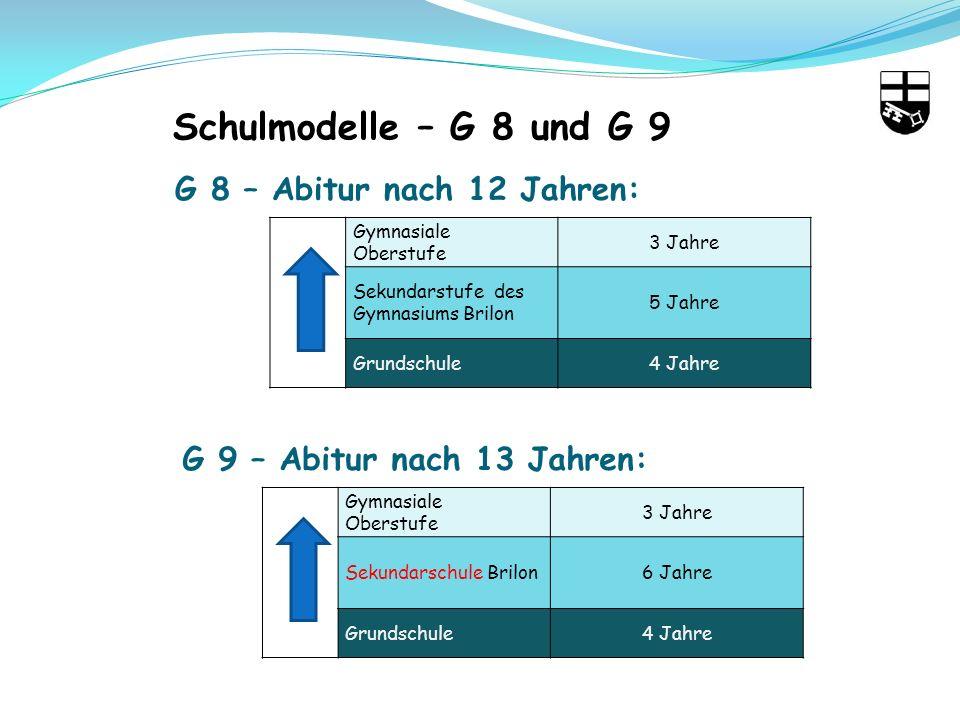 Schulmodelle – G 8 und G 9 G 8 – Abitur nach 12 Jahren: