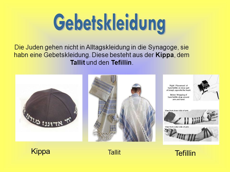 Gebetskleidung Kippa Tefillin