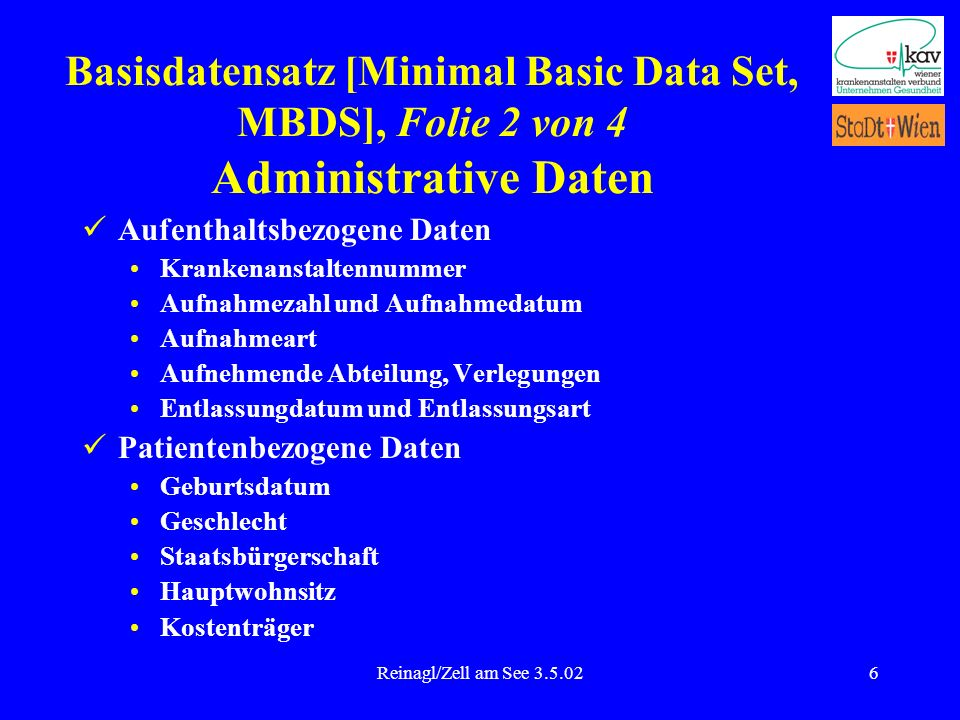 Basisdatensatz [Minimal Basic Data Set, MBDS], Folie 2 von 4 Administrative Daten