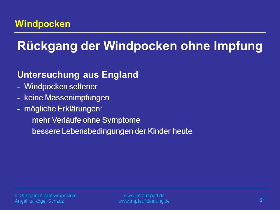 Rückgang der Windpocken ohne Impfung