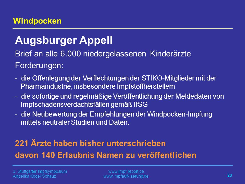 Augsburger Appell Windpocken
