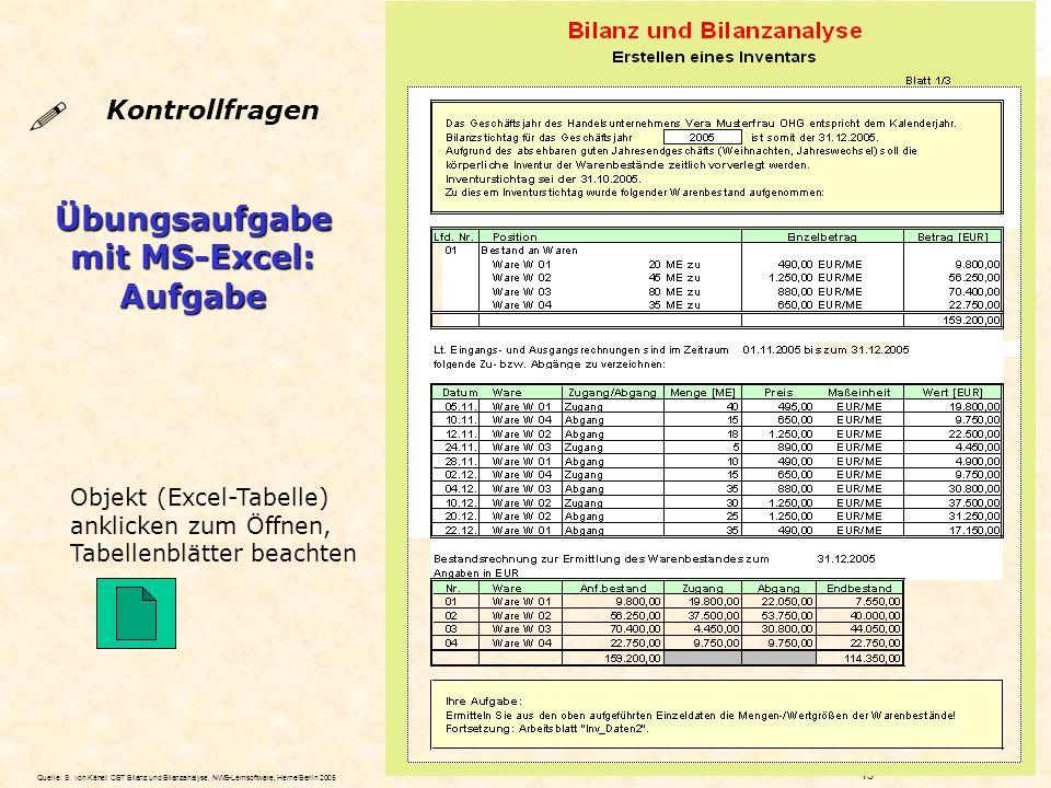 Übungsaufgabe mit MS-Excel: Aufgabe