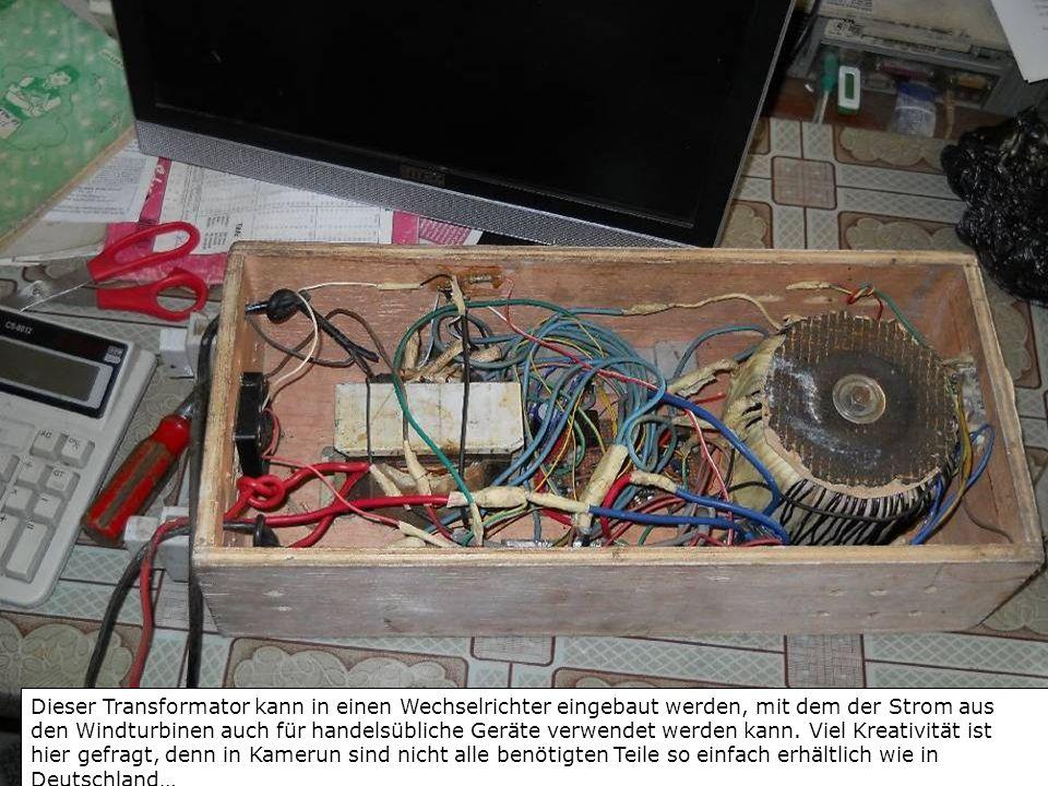 Dieser Transformator kann in einen Wechselrichter eingebaut werden, mit dem der Strom aus den Windturbinen auch für handelsübliche Geräte verwendet werden kann.
