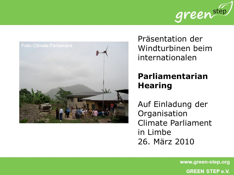 Präsentation der Windturbinen beim internationalen