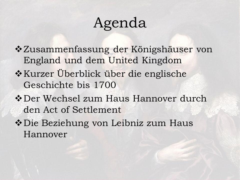 Agenda Zusammenfassung der Königshäuser von England und dem United Kingdom. Kurzer Überblick über die englische Geschichte bis 1700.