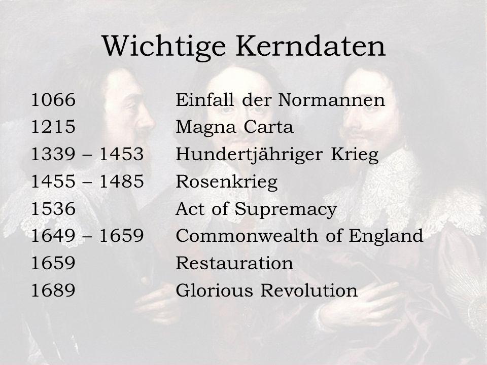 Wichtige Kerndaten Einfall der Normannen Magna Carta