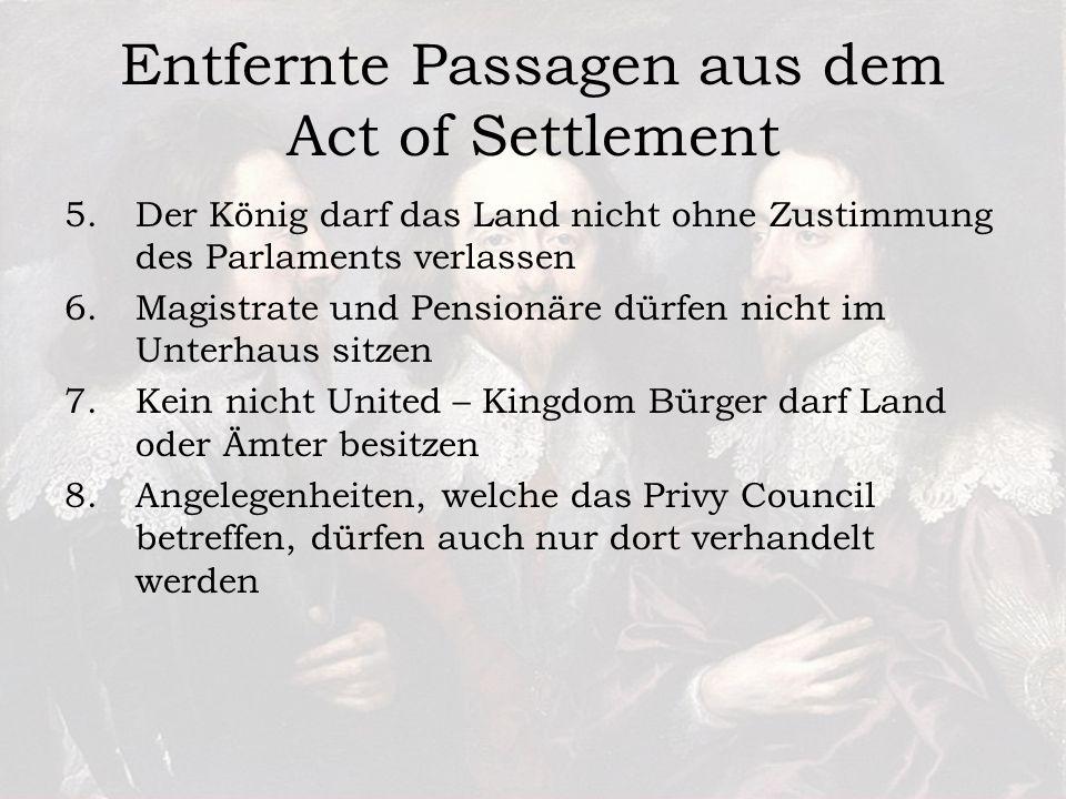 Entfernte Passagen aus dem Act of Settlement