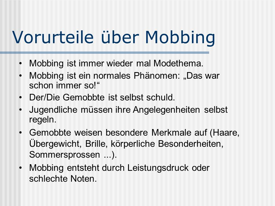 Vorurteile über Mobbing