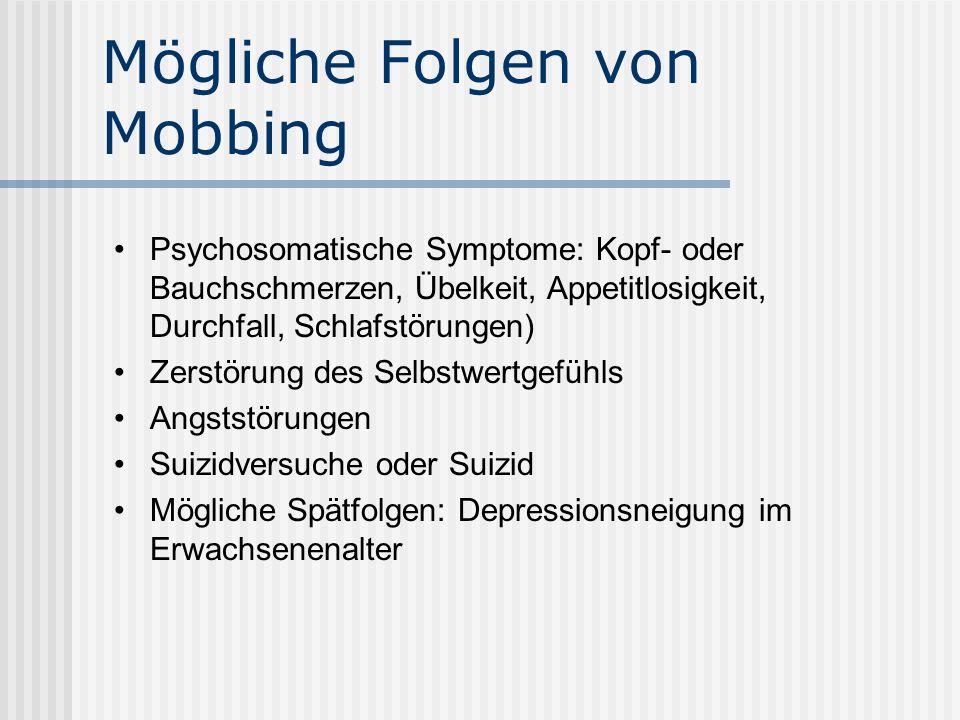 Mögliche Folgen von Mobbing